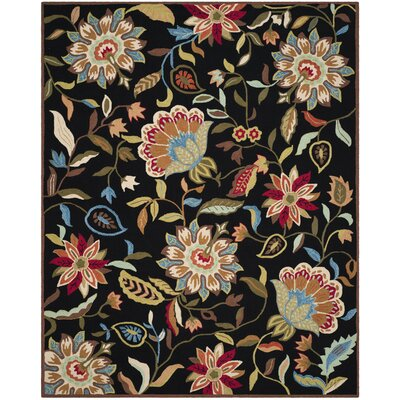 Childers Hand-Hooked Black / Purple Indoor / Outdoor Area Rug Rug Size: 8 x 10