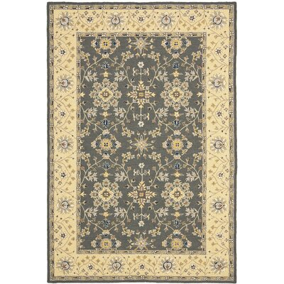 Driffield Hand-Hooked Grey / Cream Area Rug Rug Size: Rectangle 4 x 6