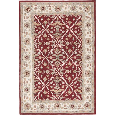 Driffield Hand-Hooked Red / Ivory Area Rug Rug Size: Rectangle 36 x 510