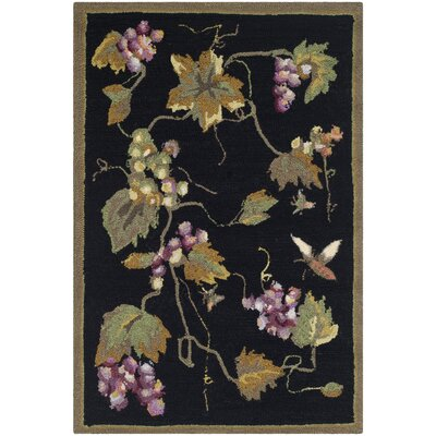 Olson Hand-Hooked Black Area Rug Rug Size: Rectangle 3' x 5'