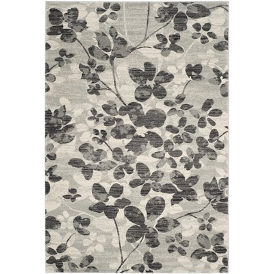 Pike Grey / Black Indoor/Outdoor Area Rug Rug Size: 4 x 6