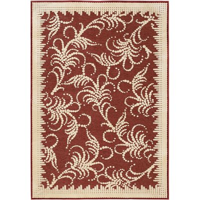 Fountain Swirl Hand-Woven Red/Ivory Area Rug Rug Size: 27 x 4