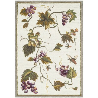 Olson Hand-Hooked White Area Rug Rug Size: Rectangle 9 x 12