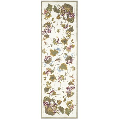 Olson Hand-Hooked White Area Rug Rug Size: Runner 26 x 10