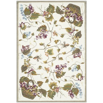Olson Hand-Hooked White Area Rug Rug Size: 4 x 6