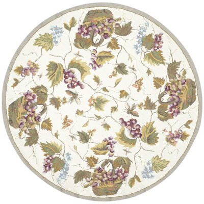 Olson Hand-Hooked White Area Rug Rug Size: Round 6 x 6