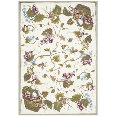 Olson Hand-Hooked White Area Rug Rug Size: 3 x 5