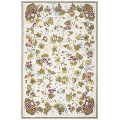 Olson Hand-Hooked White Area Rug Rug Size: 6 x 9
