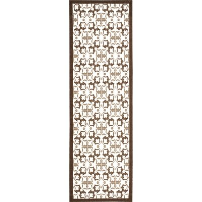 Hanson Brown/White Area Rug Rug Size: Runner 26 x 8