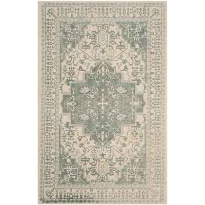 Driffield Hand-Tufted Green/Ivory Area Rug Rug Size: Rectangle 3 x 5