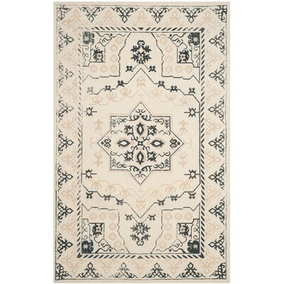 Driffield Hand-Tufted Ivory/Charcoal Area Rug Rug Size: Rectangle 4 x 6