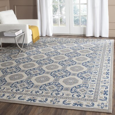 Nielsen Gray/Blue Area Rug Rug Size: Rectangle 9 x 12