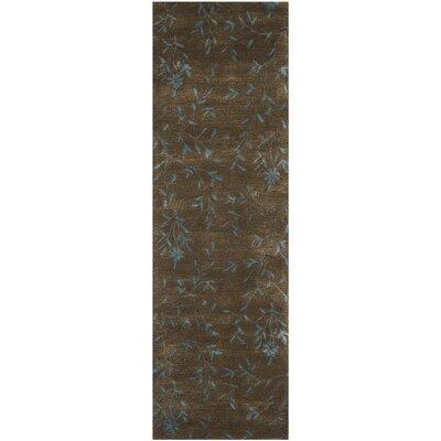 Alvan Hand-Tufted Brown / Light Blue Area Rug Rug Size: Runner 26 x 10