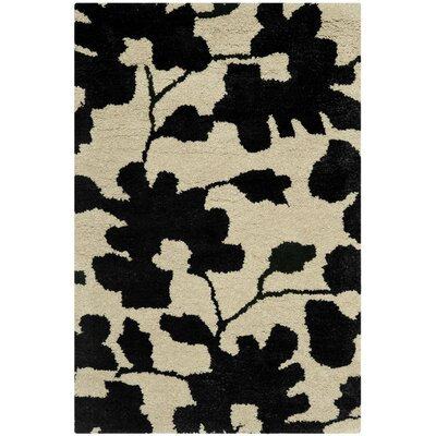 Alvan Hand-Tufted Beige / Black Area Rug Rug Size: 2 x 3