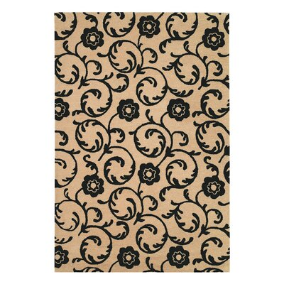 Alvan Hand-Tufted Beige / Black Area Rug Rug Size: Rectangle 96 x 136