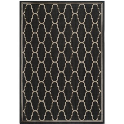 Altona Black/Beige Indoor/Outdoor Area Rug Rug Size: 53 x 77