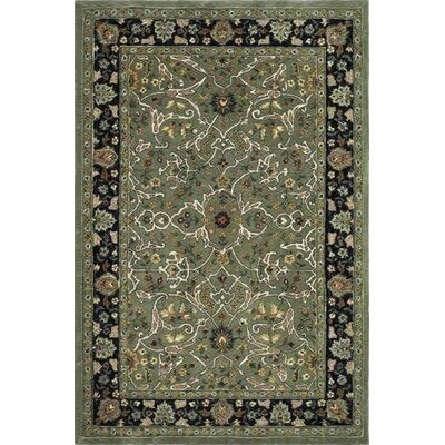 Driffield Hand-Hooked Green/Black Area Rug Rug Size: 6 x 9