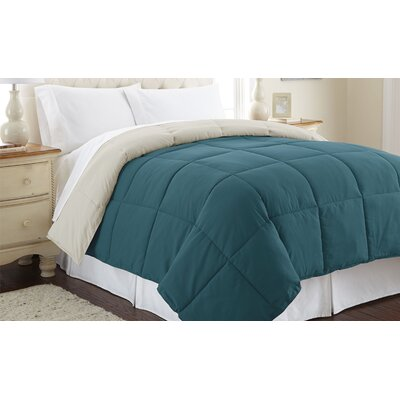 Down Alternative Reversible Comforter Size: King, Color: Blue Coral / Oatmeal