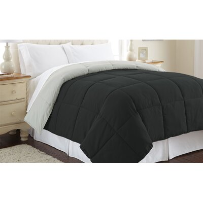 Down Alternative Reversible Comforter Size: Full/Queen, Color: Anthracite / Silver