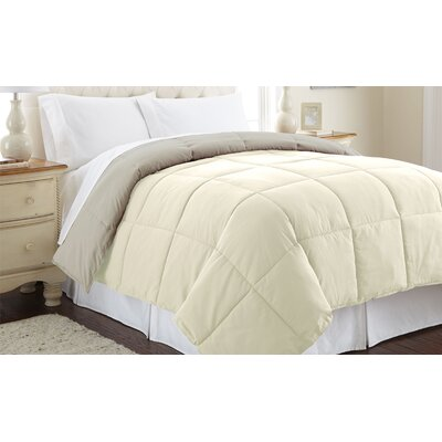 Down Alternative Reversible Comforter Size: King, Color: Ivory / Atmosphere