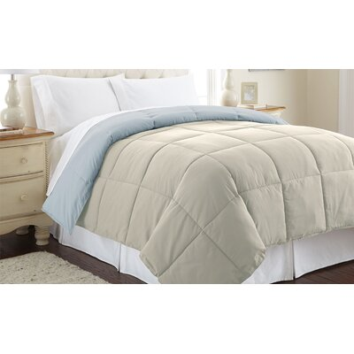 Down Alternative Reversible Comforter Size: King, Color: Oatmeal / Dusty Blue
