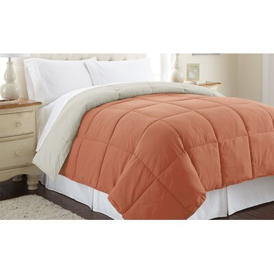 Down Alternative Reversible Comforter Size: King, Color: Orange Rust / Oatmeal