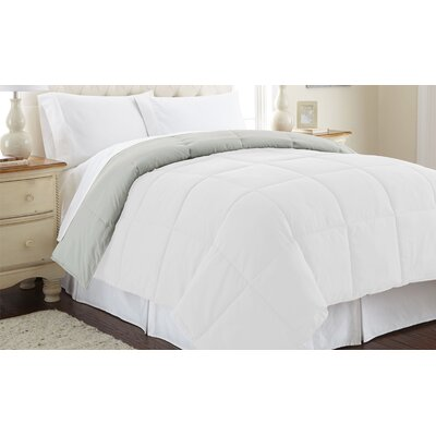Down Alternative Reversible Comforter Size: Full/Queen, Color: White / Gray