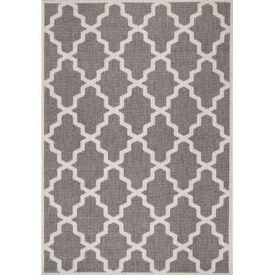 Bolton Gray Trellis Indoor/Outdoor Area Rug Rug Size: 53 x 76