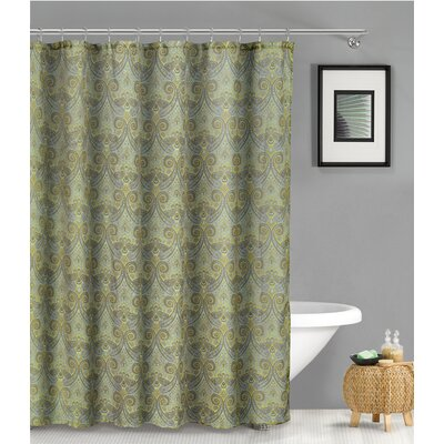 Aleshire Linen Look Shower Curtain Color: Aqua Blue