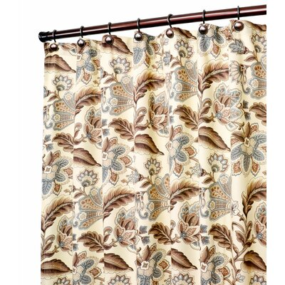 Fulton Jacobean Floral Print Shower Curtain Color: Linen