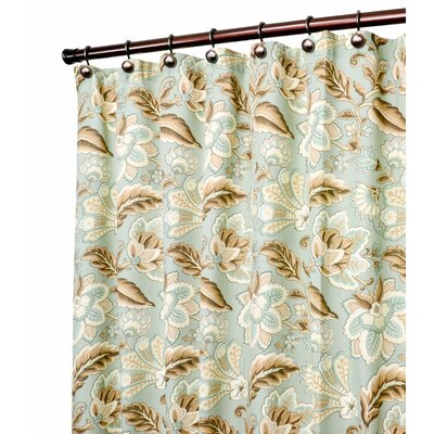Fulton Jacobean Floral Print Shower Curtain Color: Spa
