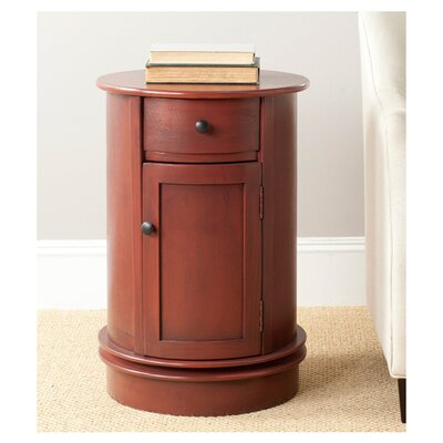 Brownsburg Swivel Oval 1 Drawer Cabinet Finish: Red