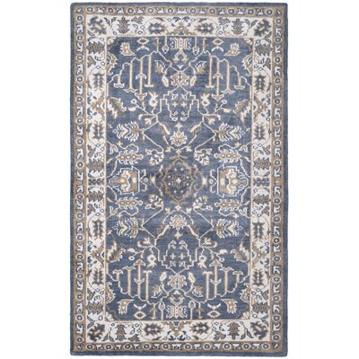 Topsham Hand-Knotted Blue/Ivory Area Rug Rug Size: Rectangle 5 x 8