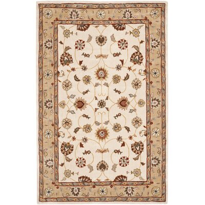 Brickhill Hand-Hooked Ivory/Beige Area Rug Rug Size: Rectangle 3' x 5'