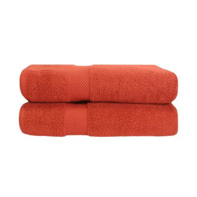 Zero Twist Bath Towel Set Color: Brick