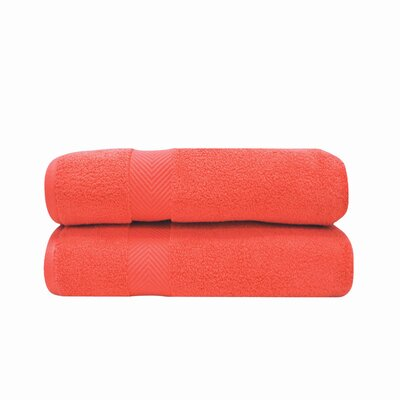 Zero Twist Bath Towel Set Color: Coral