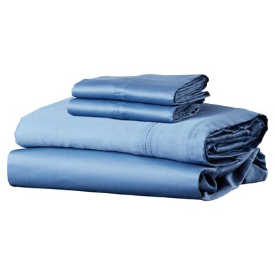 Brooklyn 300 Thread Count Egyptian 100% Cotton Sateen Deep Pocket Sheet Set Size: California King, Color: Midnight Blue