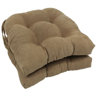 Microsuede Fabric Dining Chair Cushion Color: Java