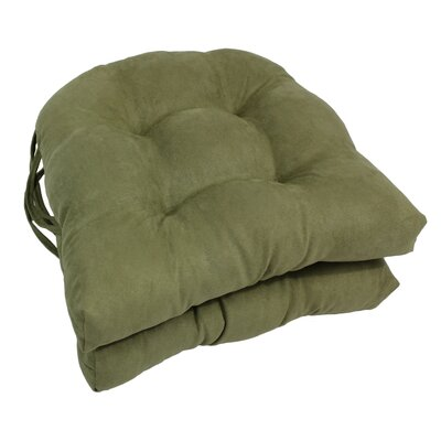 Microsuede Fabric Dining Chair Cushion Color: Sage