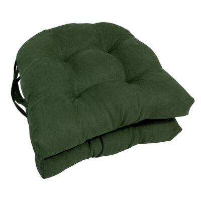 Microsuede Fabric Dining Chair Cushion Color: Hunter Green