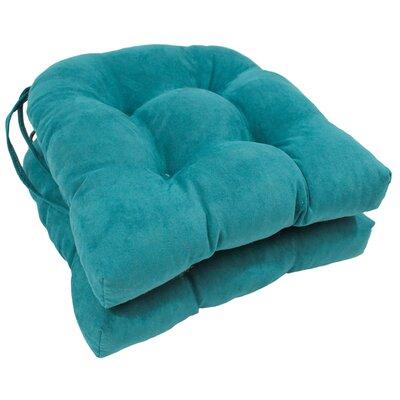 Microsuede Fabric Dining Chair Cushion Color: Aqua Blue