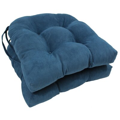 Microsuede Fabric Dining Chair Cushion Color: Indigo