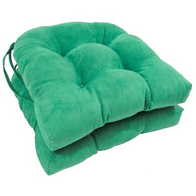 Microsuede Fabric Dining Chair Cushion Color: Emerald