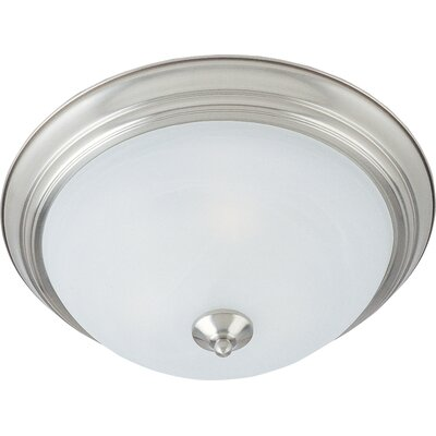Atterbury 1-Light Flush Mount Shade Finish / Finish: Marble/Satin Nickel, Size: 6 H x 16 W