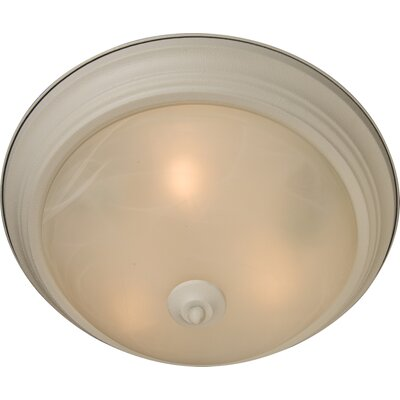 Atterbury 1-Light Flush Mount Shade Finish / Finish: Marble/Textured White, Size: 6 H x 14 W