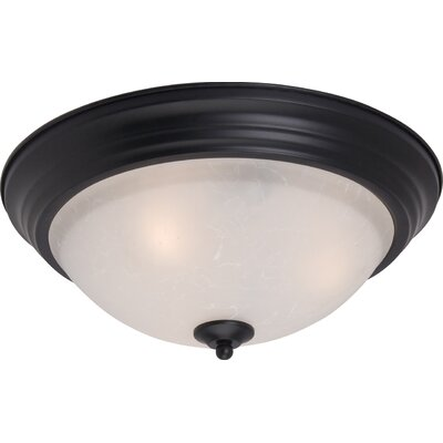 Atterbury 1-Light Flush Mount Shade Finish / Finish: Ice/Black, Size: 6 H x 14 W