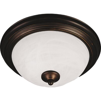 Atterbury 1-Light Flush Mount Shade Finish / Finish: Marble/Oil Rubbed Bronze, Size: 6 H x 14 W