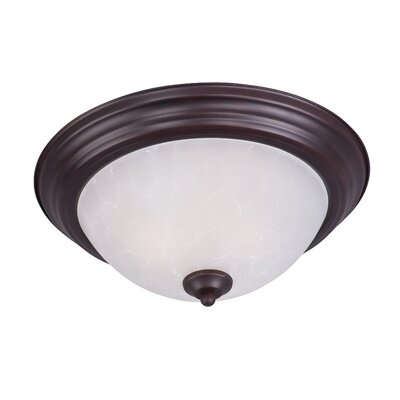 Atterbury 1-Light Flush Mount Shade Finish / Finish: Ice/Oil Rubbed Bronze, Size: 6 H x 14 W