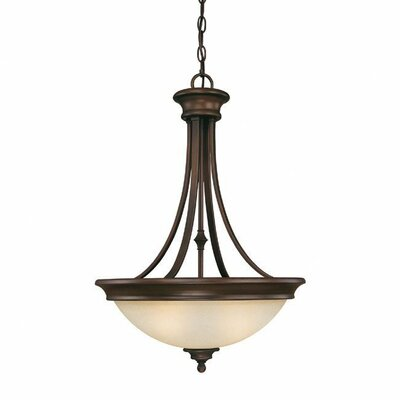 Lindenwood 3 Light Inverted Pendant in Creek Stone Finish: Burnished Bronze
