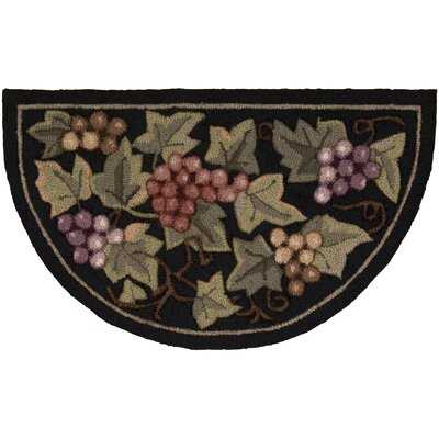 Arpdale Grapes Black Area Rug Rug Size: Half Circle 17 x 28